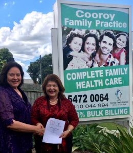 CTC CEO Debbie Blumel and Vivianne Dawalibi, principal of Cooroy Family Practice celebrate their new partnership